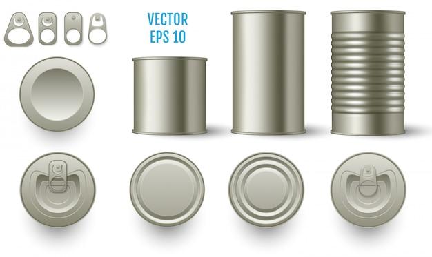 Scatole di mockup di latta cilindriche realistiche