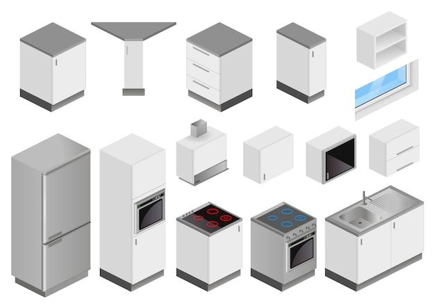 Scatole isometriche di attrezzature per il progetto di cucina