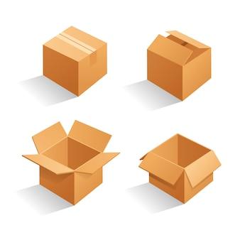 Scatole per imballaggio in cartone marrone.