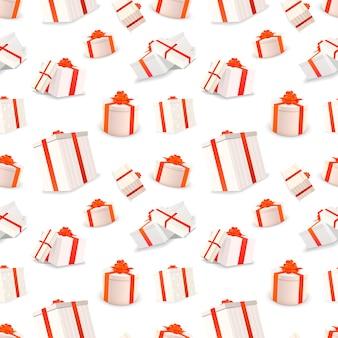 Scatole regalo bianche con nastri rossi e fiocchi