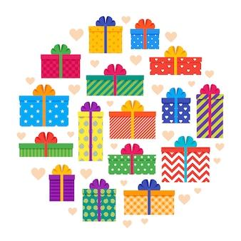 Scatole regalo in design piatto. regali con fiocchi e nastri nel concetto di cerchio.
