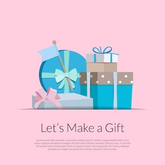 Scatole regalo o pacchi in tasca con posto per il testo