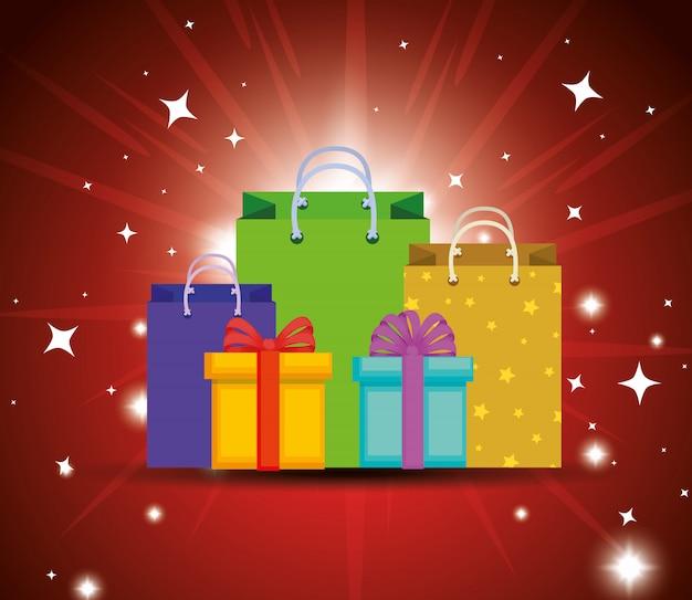 Scatole regalo presenti con decorazione a nastro