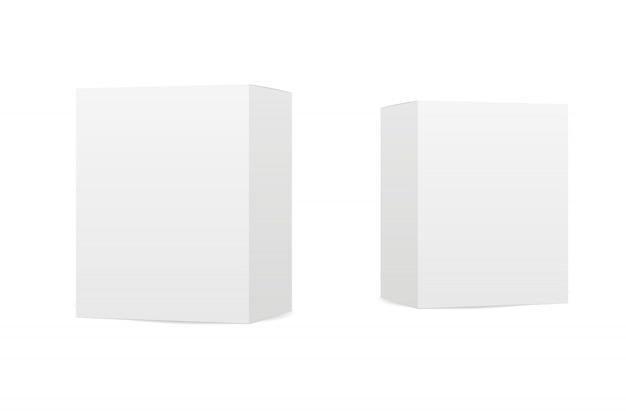 Scatole su sfondo bianco