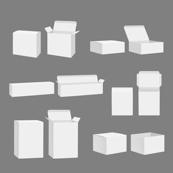 Scatole vuote. modello realistico del modello bianco chiuso di stoccaggio dei pacchetti di regalo del cartone aperto isolato
