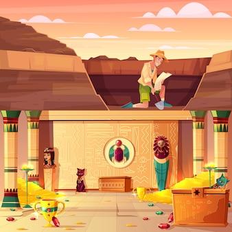 Scavi di archeologia, concetto di vettore del fumetto di caccia del tesoro con l'archeologo o cavaliere della tomba che guarda sulla mappa, scavando suolo in deserto con la pala, illustrazione sotterranea di treasury del faraone di egitto
