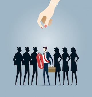 Scegliere il miglior candidato. vettore di concetto di affari