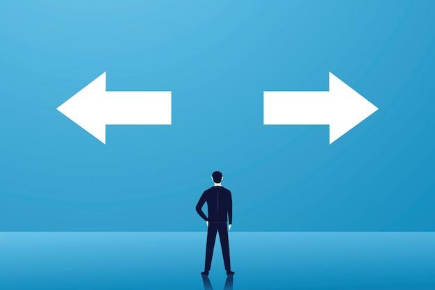Scelta aziendale o concetto di decisione, uomo d'affari confuso e pensiero difficile scegliere quale strada da percorrere