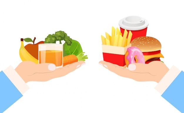 Scelta dell'alimento stile di vita sano e spazzatura, illustrazione. mangia hamburger fastfood e dieta salutare per frutta e verdura.