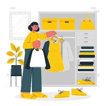 Scelta dell'illustrazione del concetto di vestiti