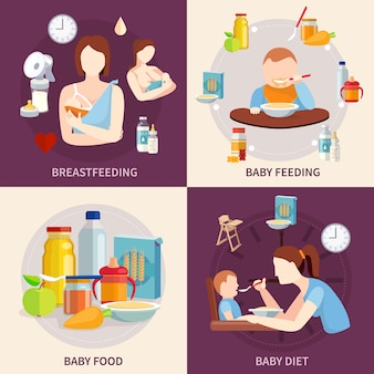 Scelta di cibo sano per neonati e bambini 4 icone piane quadrato composizione banner