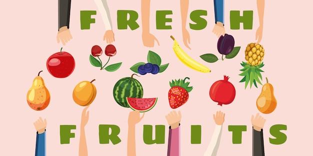 Scelta fresca della mano orizzontale di concetto della priorità bassa della frutta