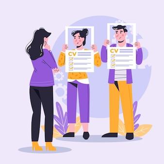 Scelta illustrata del concetto di lavoratore