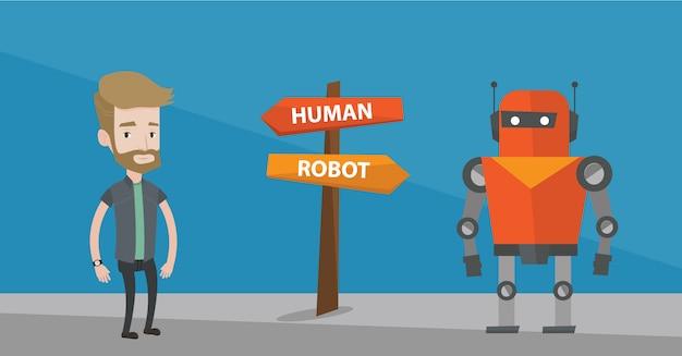 Scelta tra intelligenza artificiale e umana.