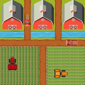 Scena aerea di terreni agricoli con colture e fienili