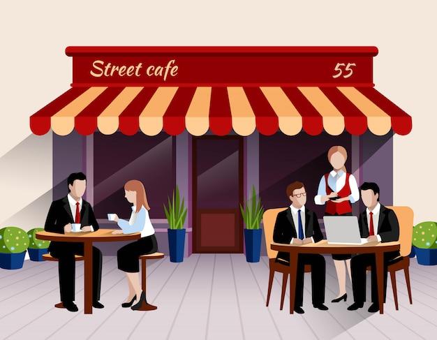 Scena all'aperto del pranzo di lavoro del terrazzo del caffè della via con la cameriera di bar che prende l'insegna piana di ordine