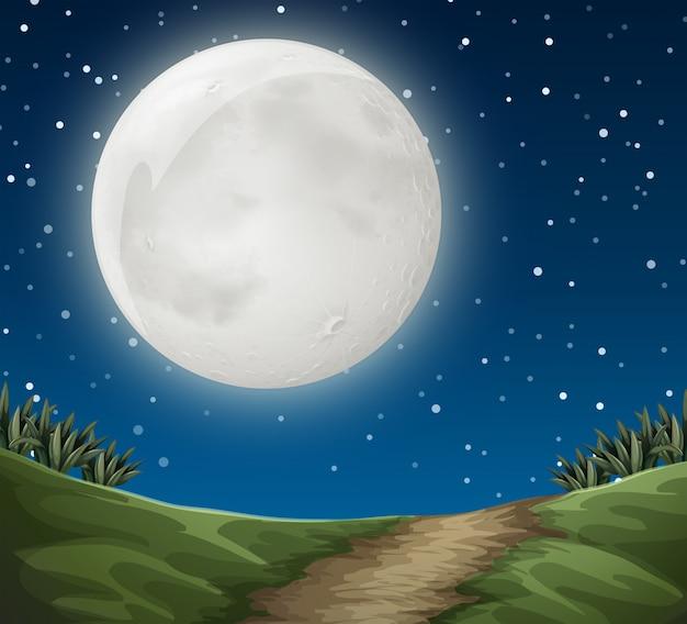 Scena all'aperto di luna piena