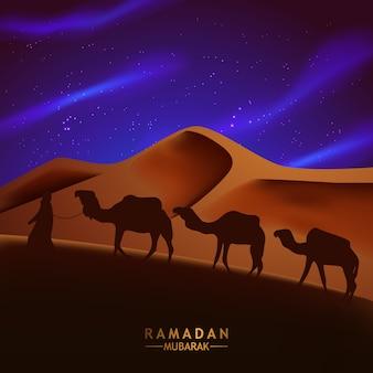 Scena araba di notte nel deserto con la siluetta dell'illustrazione della gente e del cammello per il ramadan kareem