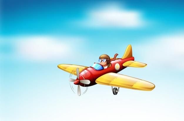 Scena con aereo che vola nel cielo