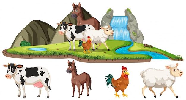 Scena con animali da fattoria sulla terra con cascata