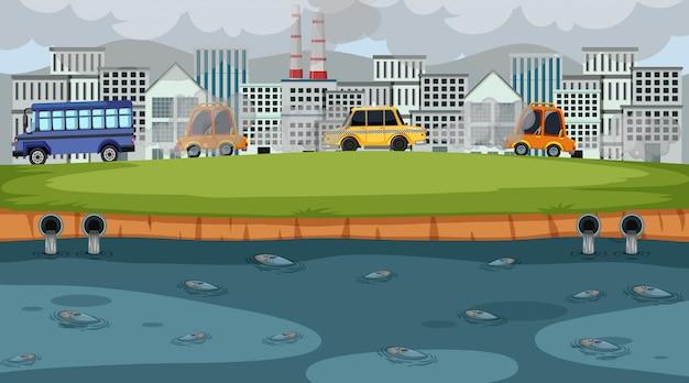 Scena con automobili e capannoni che fanno fumo sporco in città