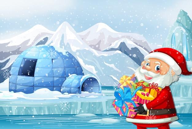 Scena con babbo natale e regali nel polo nord