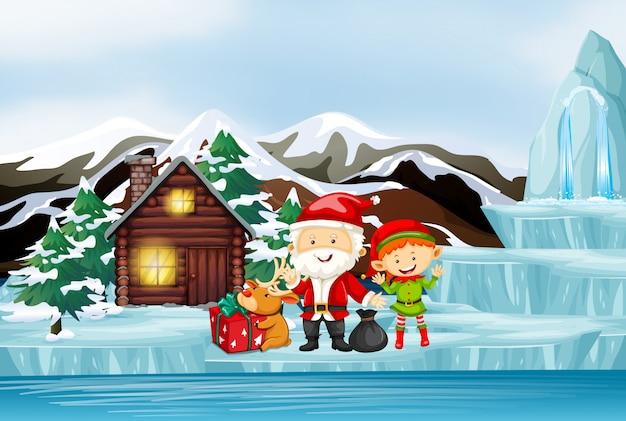 Scena con babbo natale ed elfo vicino al cottage