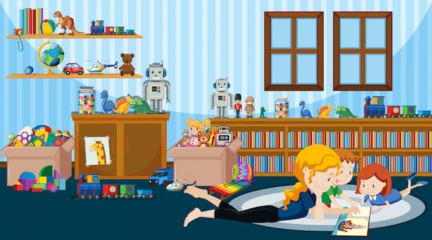 Scena con bambini che leggono la storia nella stanza