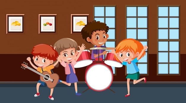 Scena con bambini che suonano musica nella band
