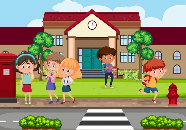 Scena con bambino che opprime il loro amico a scuola