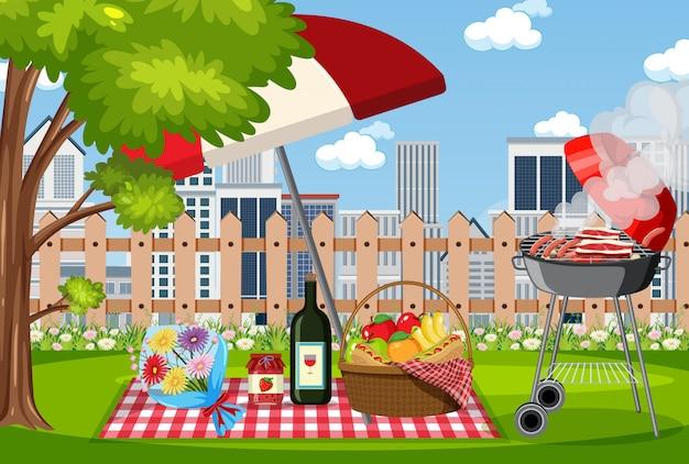 Scena con barbecue e cibo nel cestino