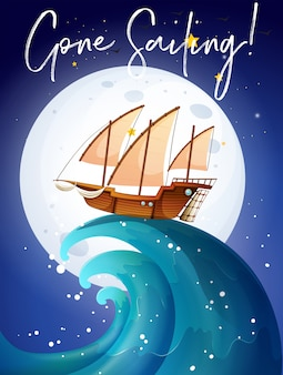 Scena con barca a vela nell'oceano