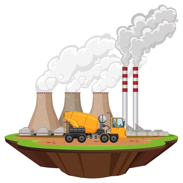 Scena con capannoni industriali e betoniera sul sito