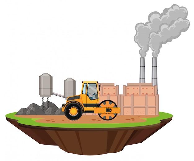 Scena con capannoni industriali e rullo compressore