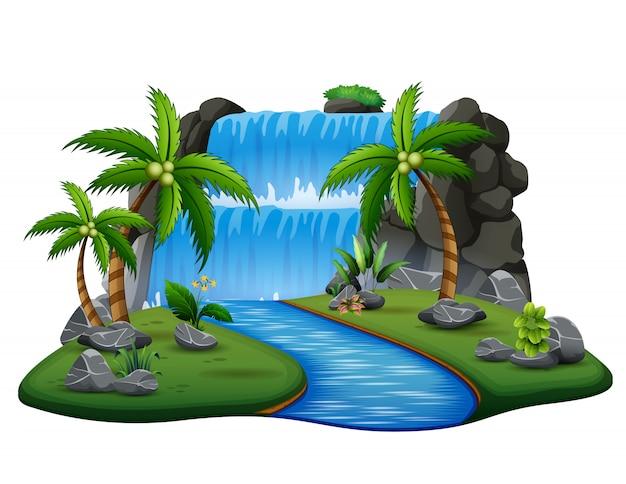 Scena con cascata e fiume