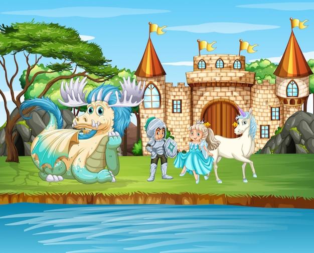 Scena con cavaliere e principessa al castello