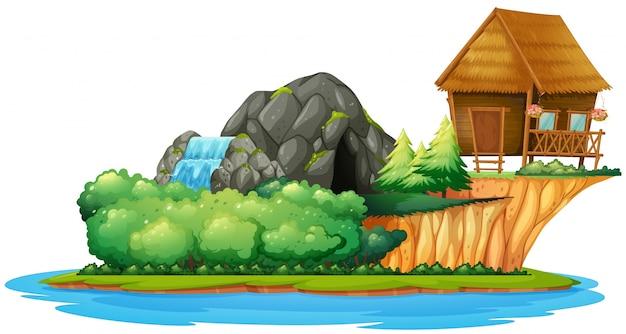 Scena con cottage sull'isola