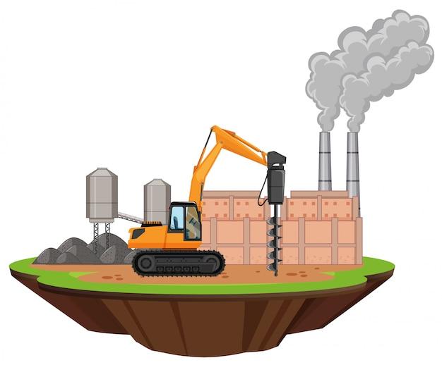 Scena con edifici di fabbrica e trapano sul sito