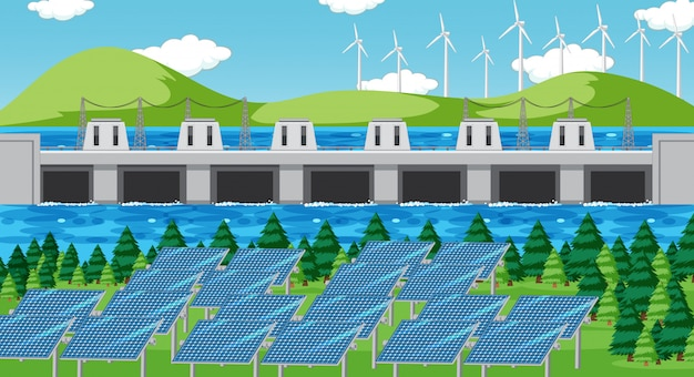 Scena con energia pulita sul campo