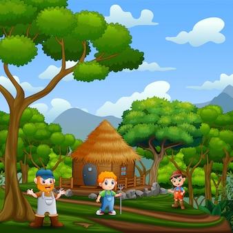 Scena con gli agricoltori e cottage in legno nella foresta