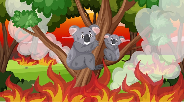 Scena con grandi incendi nella foresta