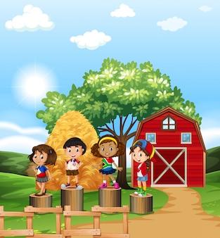 Scena con i bambini nella fattoria