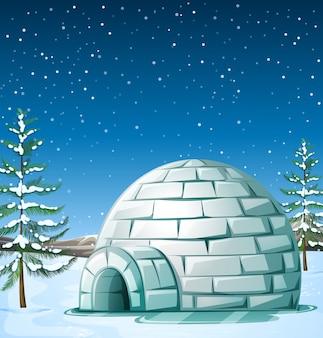 Scena con igloo in nevicata