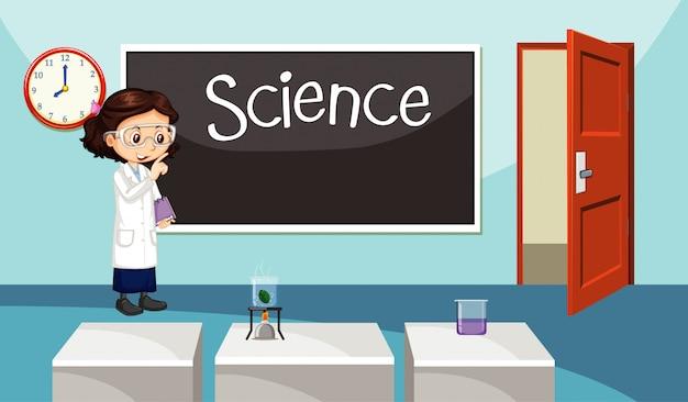 Scena con insegnante di scienze in piedi in aula