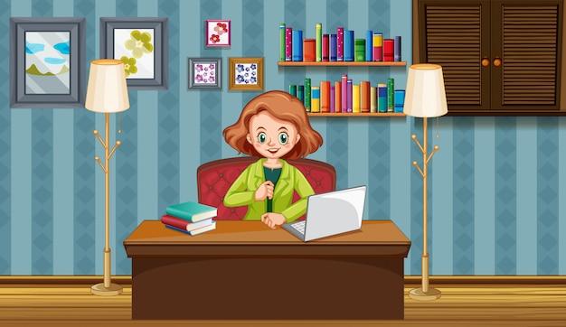Scena con la donna che lavora al computer a casa