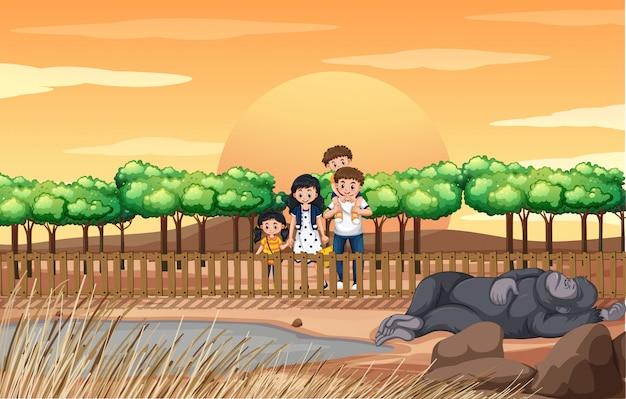 Scena con la famiglia che visita lo zoo