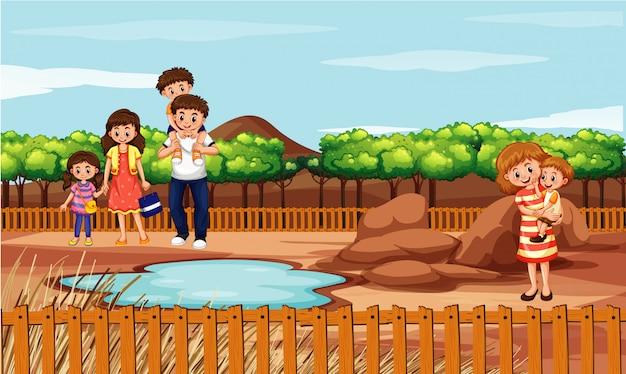 Scena con la famiglia nel parco