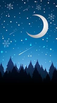 Scena con la luna nell'illustrazione di inverno