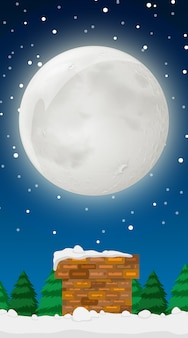 Scena con la luna piena in inverno