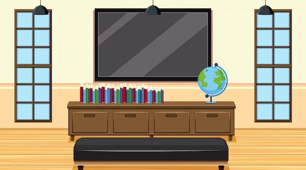 Scena con libri e tv a grande schermo in camera